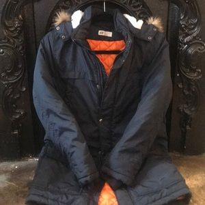 H&M NWOT size 11-12 navy parka with hood